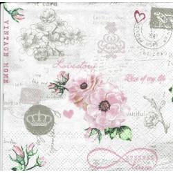 ***serwetka 25x25 K154 angielska róża, poczta