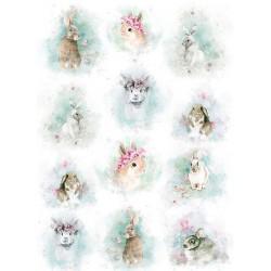 *** papier ryżowy A-4 R1671 króliki akwarelka