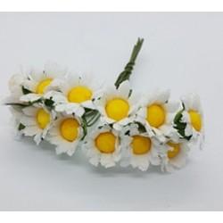 ***kwiatki stokrotki na druciku białe/ pęczek
