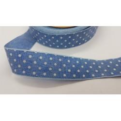 wstąża rypsowa niebieska groszki 2,5cm