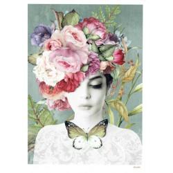 ***papier cienki A-5 4699 dziewczyna kwiaty