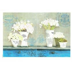***papier cienki A-5 947 wazony białe kwiaty