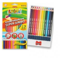 kredki ołówkowe 12-kol jumbo + temperówka kolori