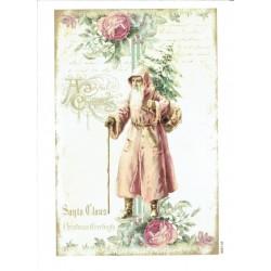 ***papier ryżowy A-6 2110 Mikołaj z różami