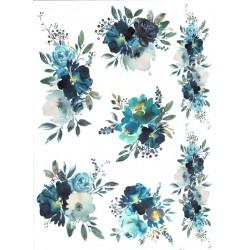 *** papier ryżowy A-4 R1731 kwiaty akwarelka