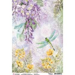 cadence papier ryżowy A-4 ważka,kwiaty