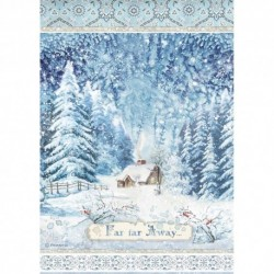 ***papier ryżowy DFSA4491 zimowy domek w lesie