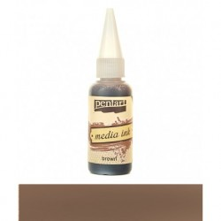 Pentart tusz media ink 20ml brązowy