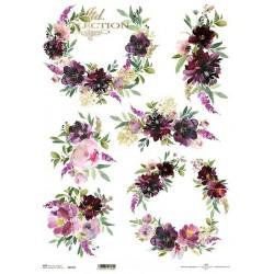 ***papier ryżowy A-3 R597L malowane kwiaty