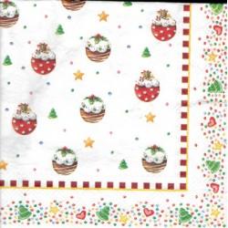 serwetka 33x33 BN264 świąteczne pączusie
