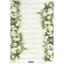 ***papier ryżowy A-4 R 1795 białe róże