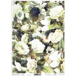 ***papier ryżowy A-4 R 1797 białe róże
