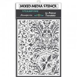 szablon mix media 15*20cm arabeska,kompas