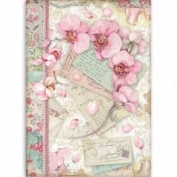 ***papier ryżowy A-4 różowa orchidea DFSA4512