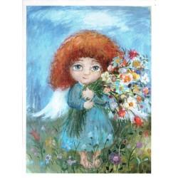 ***papier cienki A-5 2153 aniołek z bukietem kwiat