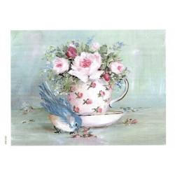 ***papier ryżowy A-5 1462 ptaszek filiżanka kwiaty