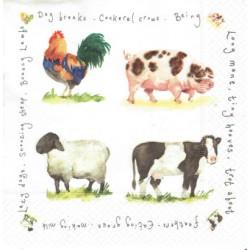 ***serwetka 33x33 Z73 zwierzęta farmy