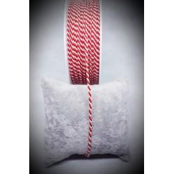 ***sznurek biało-czerwony śr.2 mm -  1 m
