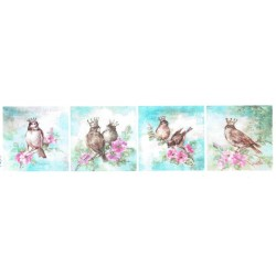 ***papier ryżowy 8x30cm 4652 ptaki malowane