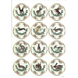 ***papier ryżowy A-4 3853 zające vintage koła