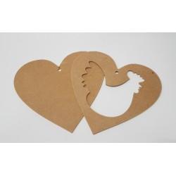 serce ramka dwuczęściowa z kurą 23*21cm