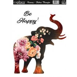 transfer na tkaniny 25*35 cm słoń, kwiat
