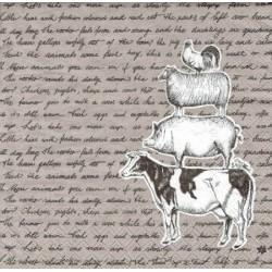 serwetka 33x33 Z80 zwierzęta farmy,pismo