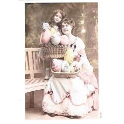 ***papier ryżowy A-6 1568 koszyk jajek z damą