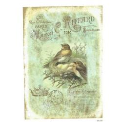 ***papier ryżowy A-6 1406 ptaki z gniazdem vintage