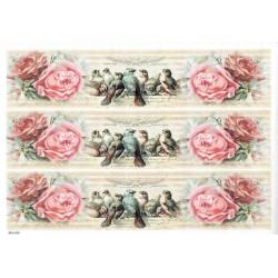 ***papier cienki A-4 1469 paski,ptaki róże
