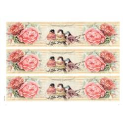 ***papier cienki A-4 1474 paski róże 3 ptaki