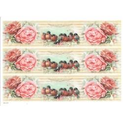 ***papier cienki A-4 1470 paski róże 7 ptaków