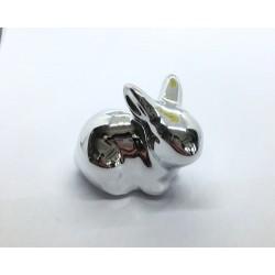 zajączek cermiczny srebrny siedzący 5cm