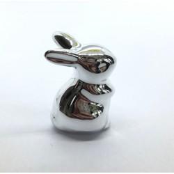 zajączek cermiczny srebrny stojący 5cm