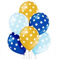 balon metalizowane grochy niebieskie 6sz