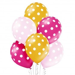 balon metalizowane grochy różowe 6szt