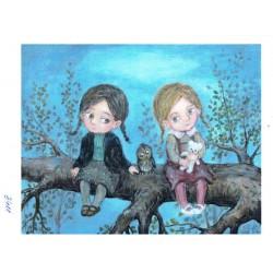 papier cienki A-5 3411 dziewczynki z sow