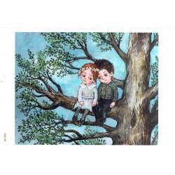 papier cienki A-5 2146 dzieci na drzewie