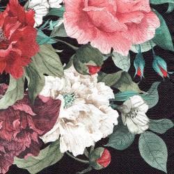 ***serwetka 33x33 K204 kwiaty na czarnym tle