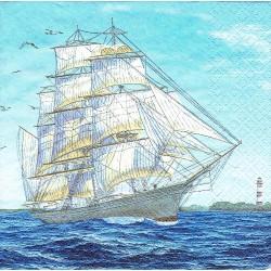 ***serwetka 33x33 I128 żeglujący statek