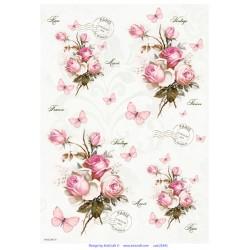 ***papier ryżowy 21*29,7 cm róże vintage