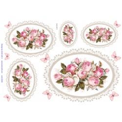 ***papier ryżowy 21*29,7 cm roże vintage w ramce