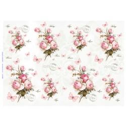 papier ryżowy 32*45 cm róże vintage buki