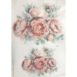 papier ryżowy 32*45 cm kwiaty akwarela