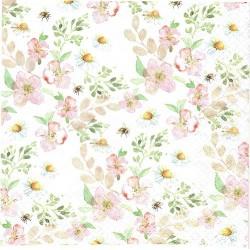 serwetka 33*33 K206 kwiaty akwarelka