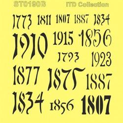 szablon 16*16cm cyfry, rok ST0190B