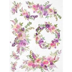papier ryżowy A-4 R1838 malowane kwiaty akwarelowe