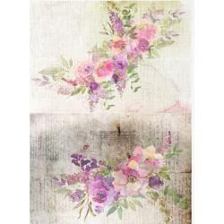 papier ryżowy A-4 R1837 malowane kwiaty akwarelowe