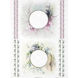 papier ryżowy A-4 R1830 ramka kwiat, kwiaty wiśni