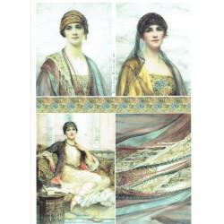papier ryżowy A-4 R1841 portrety kobiet orient